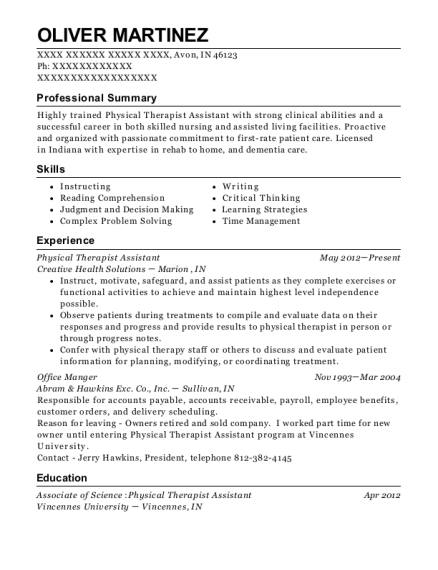 Physical Therapist Assistant resume template Indiana