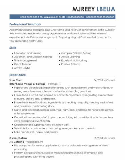 Sous Chef resume sample Indiana