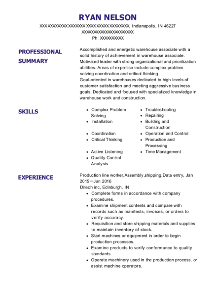 Production line worker resume template Indiana