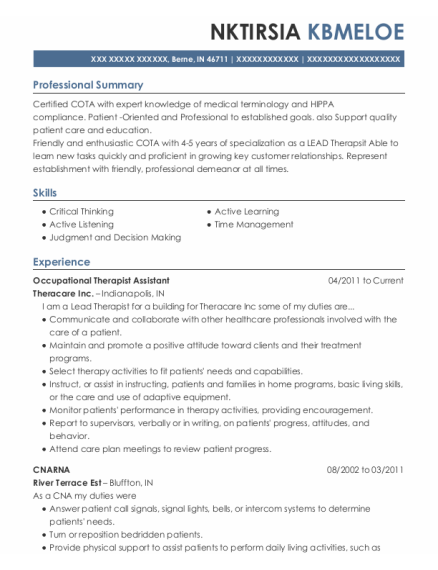 Occupational Therapist Assistant resume template Indiana