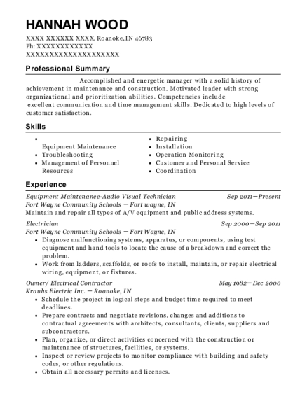 Equipment Maintenance Audio Visual Technician resume format Indiana