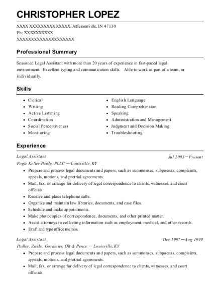 Legal Assistant resume sample Indiana