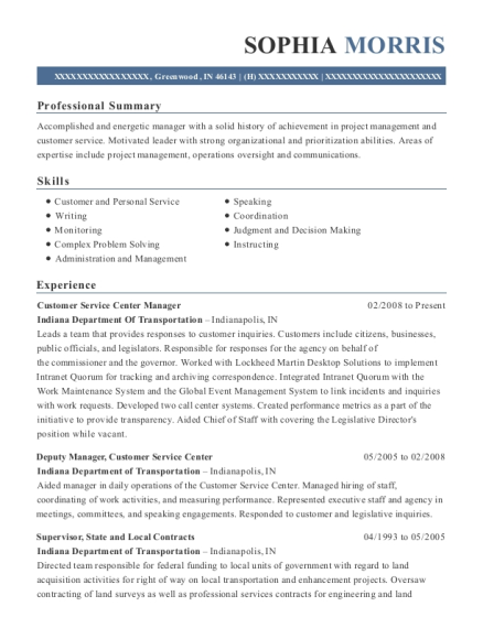 Customer Service Center Manager resume template Indiana