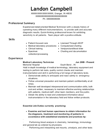 Medical Laboratory Technician resume sample Indiana