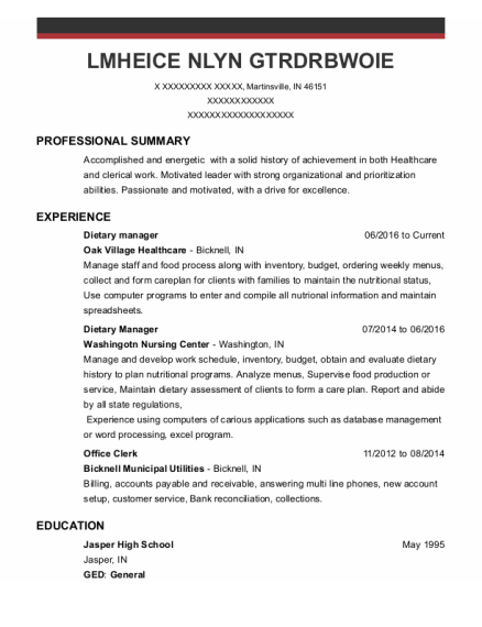 Dietary Manager resume format Indiana