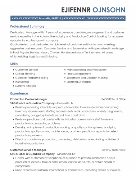 Production Control Manager resume sample Indiana