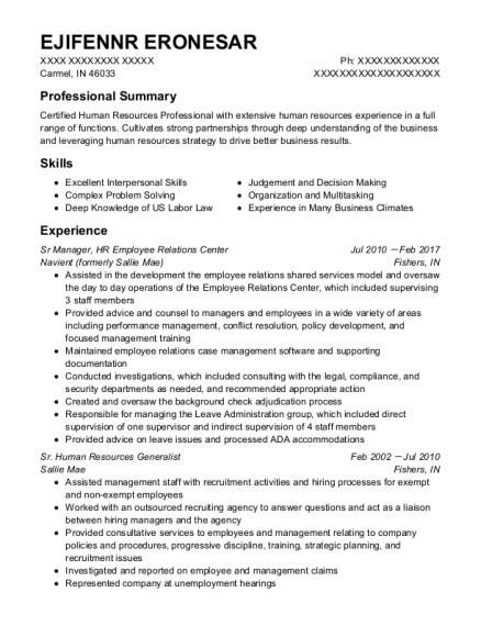 Sr Manager New Partner Development resume format Indiana