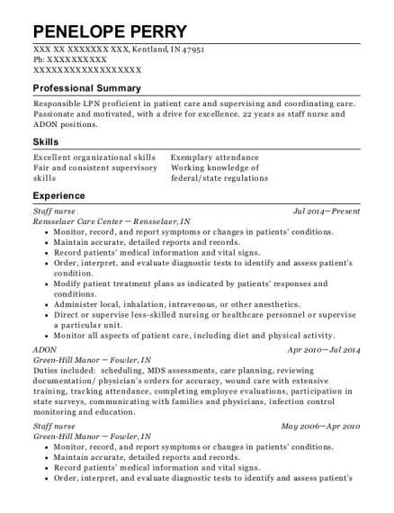 Staff Nurse resume format Indiana