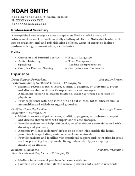 Direct Support Professional resume sample Indiana