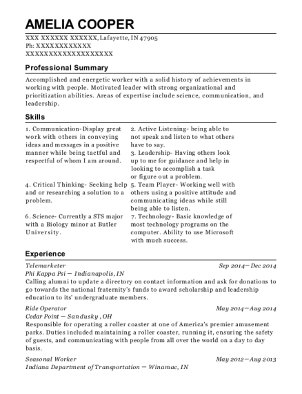Telemarketer resume sample Indiana