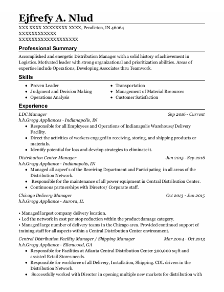 Shipping Manager resume format Indiana