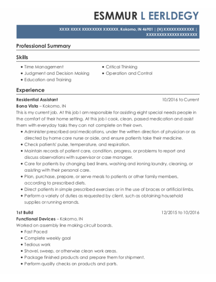 Residential Assistant resume template Indiana