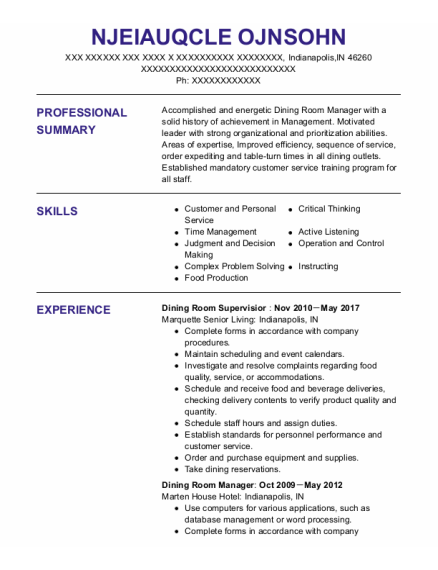 Dining Room Manager resume example Indiana