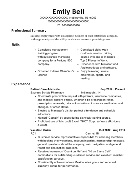 Patient Care Advocate resume sample Indiana