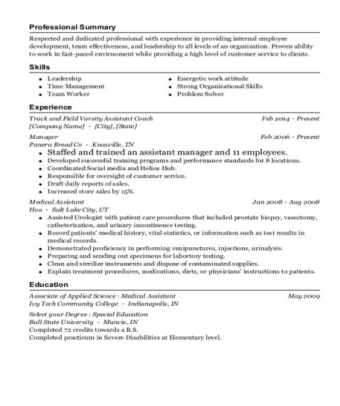 Track and Field Varsity Assistant Coach resume format Indiana