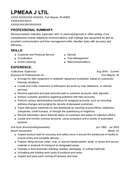 Collections Supervisor resume format Indiana