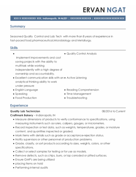 Quality Assurance Supervisor resume example Indiana