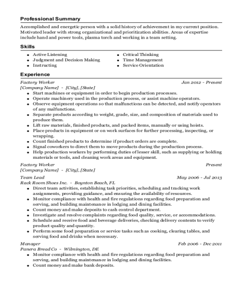 Factory Worker resume example Indiana