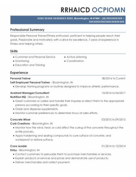 Personal Trainer resume example Indiana