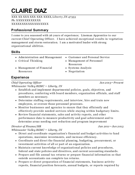 Chief Operating Officer resume template Indiana