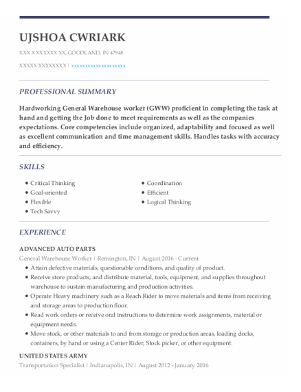 General Warehouse Worker resume template Indiana