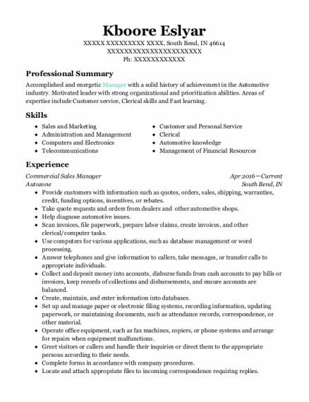 Commercial Sales Manager resume example Indiana