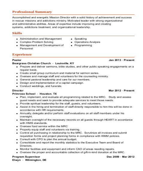 Pastor resume template Indiana