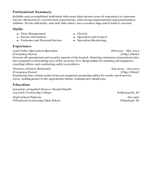 Lead Teller Operations Specialist resume example Indiana