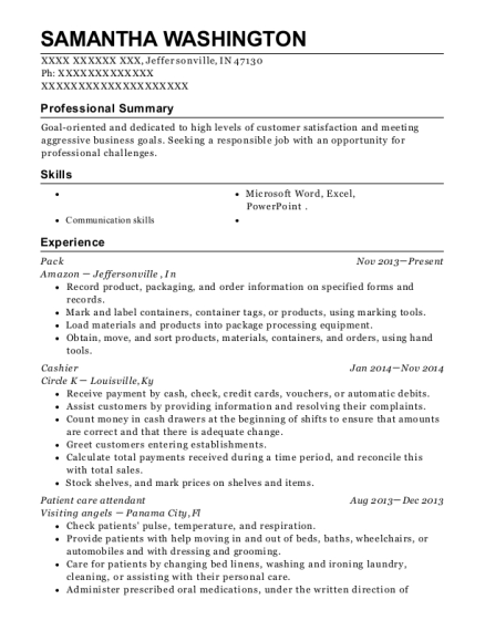 Pack resume example Indiana