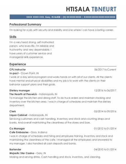 Dietary Manager resume example Indiana