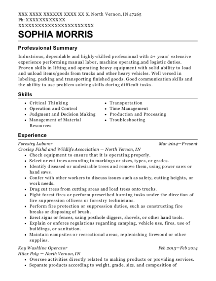 Forestry Laborer resume example Indiana
