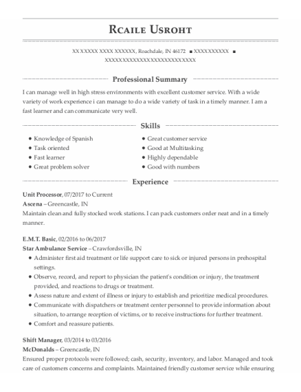Emt Basic resume sample Indiana