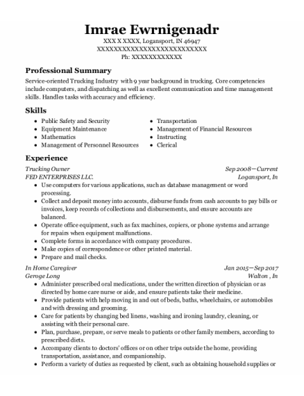 In Home Caregiver resume sample Indiana