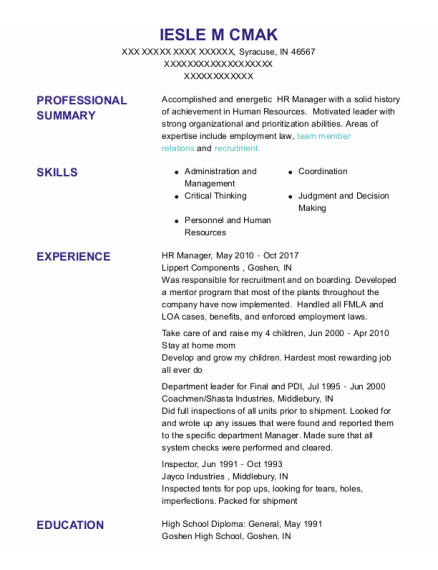 Hr Manager resume template Indiana