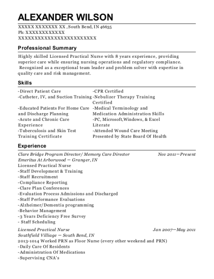 Clare Bridge Program Director resume sample Indiana