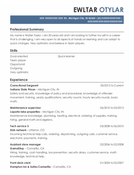 Correctional Sergeant resume template Indiana