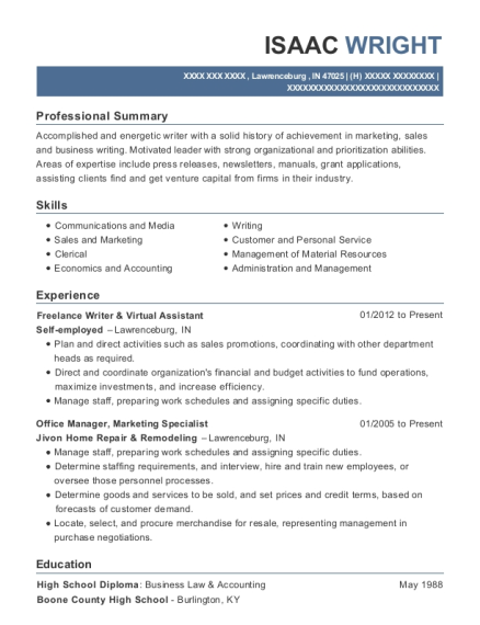 Freelance Writer & Virtual Assistant resume template Indiana