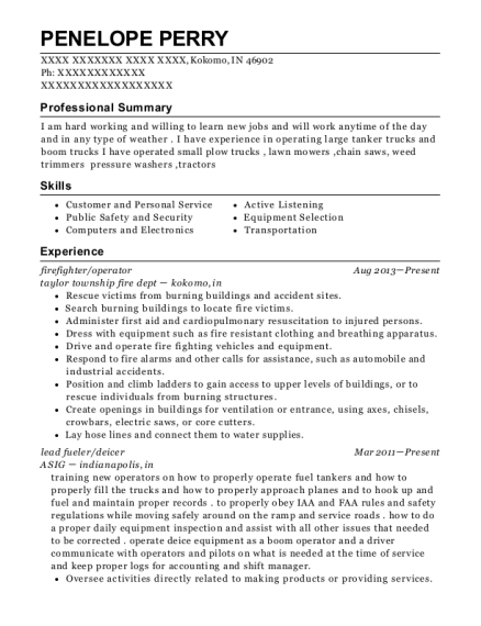 firefighter resume sample Indiana