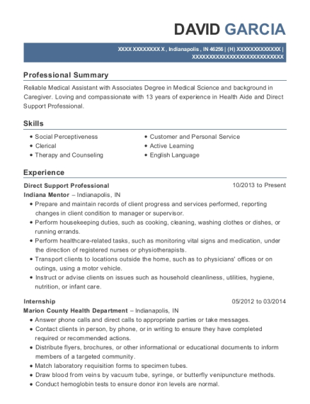 Direct Support Professional resume template Indiana