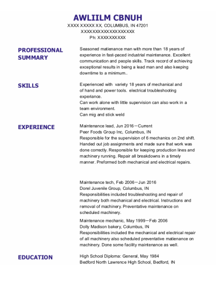 Maintenance Lead resume sample Indiana