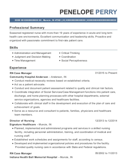 RN Case Manager resume sample Indiana