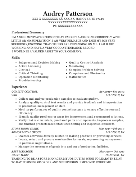 QUALITY CONTROL resume format Indiana