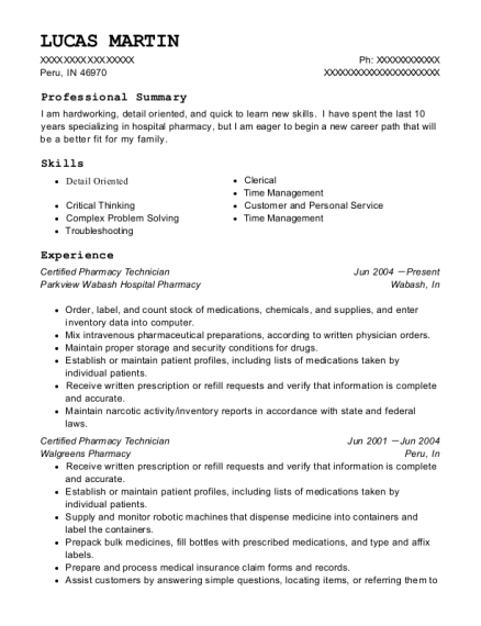 Certified Pharmacy Technician resume sample Indiana