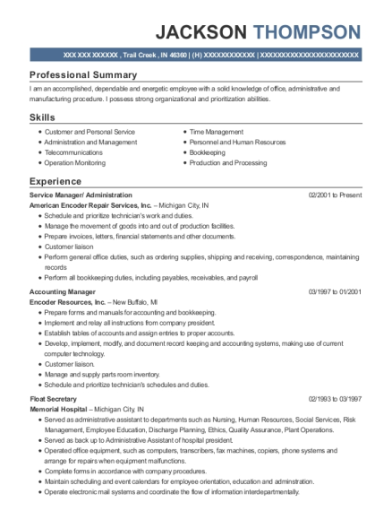 Service Manager resume template Indiana