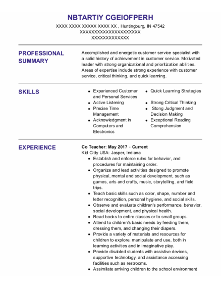 Monitor Tech resume example Indiana
