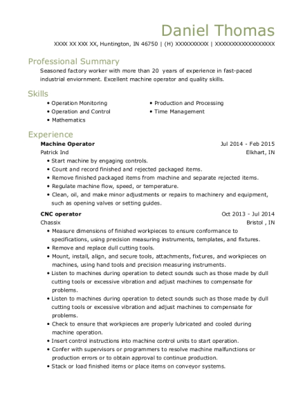 Machine Operator resume example Indiana