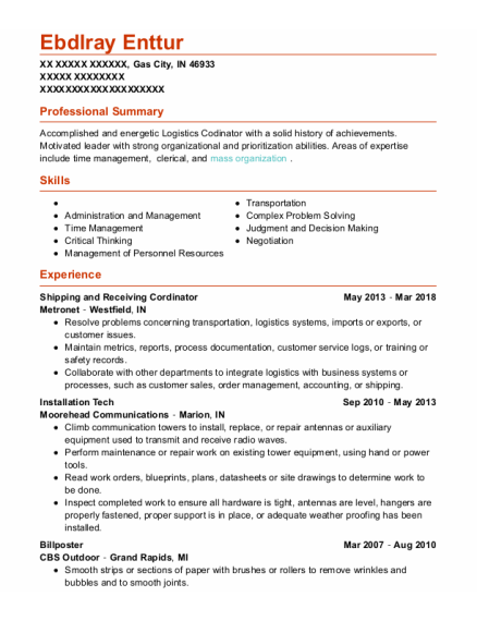 Installation Tech resume sample Indiana