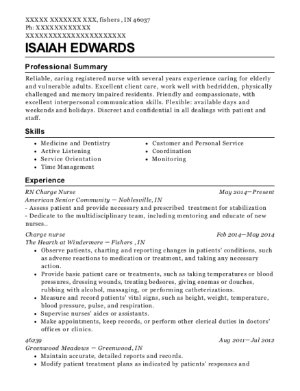 RN Charge Nurse resume template Indiana