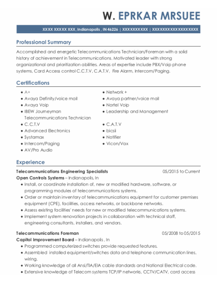 Telecommunications Foreman resume sample Indiana