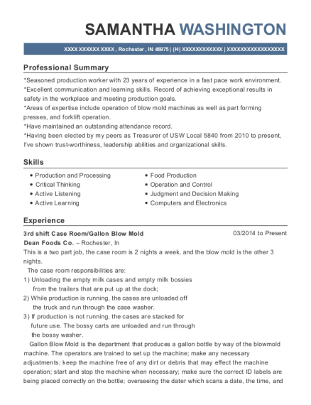 3rd shift Case Room resume example Indiana